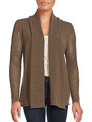 Lafayette 148 New York Solid Open Front Cardigan Nougat