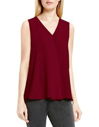 Vince Camuto Sleeveless V Neck Drape Front Blouse Raisin
