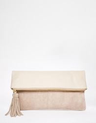 Asos Leather And Suede Fold Over Clutch Bag Nude