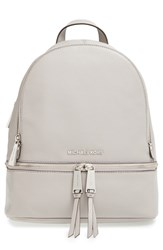 Michael Michael Kors 'Small Rhea Zip' Leather Backpack Grey Pearl Grey Silver