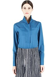 Marni Mock Neck Silk Shirt Teal