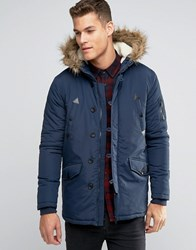 Brave Soul Parka Jacket With Faux Fur Trim Hood Navy