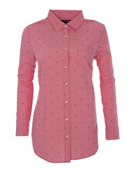 Lands' End Women S Long Length Print Shirt Light Pink