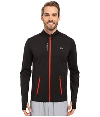 Lacoste Performance Full Zip Stretch Jersey Black Matador Red Men's Sweatshirt