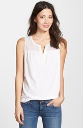 Women's Nydj Knit Tank With Eyelet Yoke Optic White