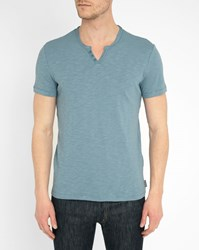 Harris Wilson Blue Grandad Collar Slubbed T Shirt