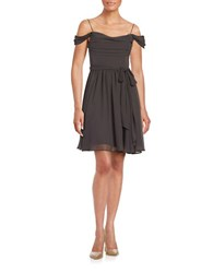 Vera Wang Draped Fit And Flare Dress Smoke