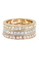 Ariella Collection Crystal Stack Rings Metallic