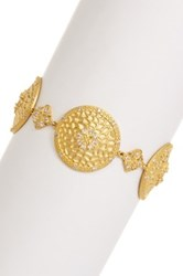 Freida Rothman 14K Gold Plated Sterling Silver Hammered Flower Link Bracelet Metallic