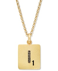 Scrabble 14K Gold Over Sterling Silver Black Diamond Accent 'I' Initial Pendant Necklace