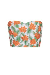 Topshop Floral Bandeau Top Orange
