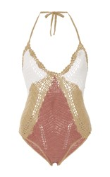 All That Remains Baez Crochet Swimsuit Brown Red White