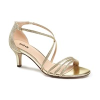 Paradox London Pink Isla Strappy Mid Heel Sandals Gold