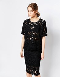 Just Female Round Lace Top Black