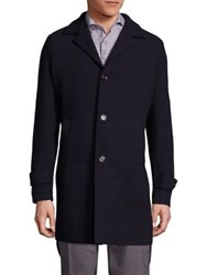 Eleventy Single Breasted Wool And Cashmere Blend Coat Navy