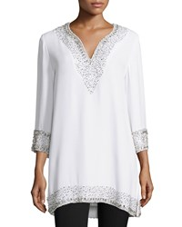 Naeem Khan 3 4 Sleeve Split Neck Embellished Silk Tunic White Women's