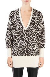 Topshop Unique Women's 'Exhall' Animal Print V Neck Sweater