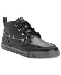 Nautica Shoes Del Mar Mid Leather Sneakers Men's Shoes Black Pebbled Leather