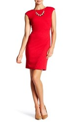 London Times Jacquard Release Tuck Cocktail Dress Petite Red