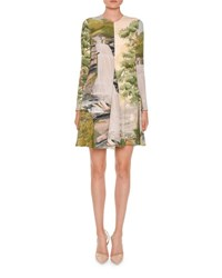 Stella Mccartney Long Sleeve Landscape Print Swing Dress Multi Multi Colors