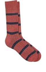 Barneys New York Men's Striped Cotton Mid Calf Socks Pink
