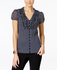 Inc International Concepts Ruffled Polka Dot Blouse Only At Macy's Blue Junior Dot