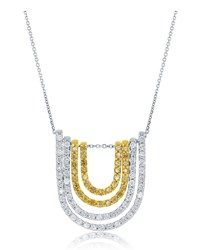 Diana M. Jewels 18K Horseshoe Yellow And White Diamond Pendant Necklace Women's