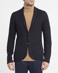 Armani Jeans Blue Destructured Knit Jacket With Camel Lining