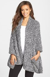 Women's Barefoot Dreams Cozychic Travel Shawl Black Online Only Heathered Midnight White