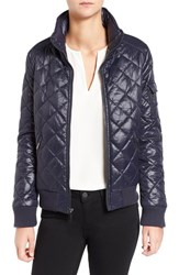 French Connection Women's Quilted Bomber Jacket Utility Blue