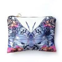 Imagination Illustrated Butterfly Cotton Pouch Black Pink Purple