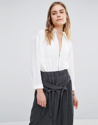 House Of Sunny Essential Zip Front Shirt White