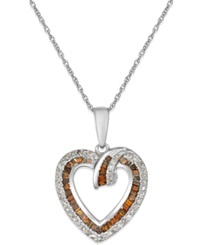 Macy's White And Red Diamond Heart Pendant Necklace In 10K White Gold 2 5 Ct. T.W.