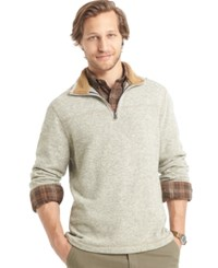 G.H. Bass And Co. Big And Tall Sherpa Lined Mock Neck Sweater Fleece Silver Birch