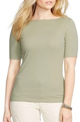 Plus Size Women's Lauren Ralph Lauren Boatneck Elbow Sleeve Knit Top True Sage
