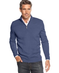 Geoffrey Beene Sweater Quarter Zip Mock Neck Ribbed Yoke Pullover Indigo Heather