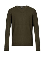 Vince V Neck Cashmere Sweater Green