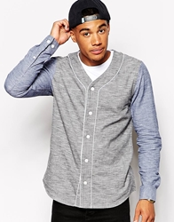 Asos Shirt In Long Sleeve With Slub Baseball Neck Blackblue