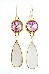 Isabella Tropea Crystal And Gemstone Daydreamer Earring Pink Druzy And Light Vitrail Crystal