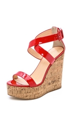 Giuseppe Zanotti Patent Leather Wedges Red