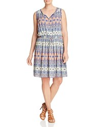 Lucky Brand Plus Stained Glass Print Dress Multi