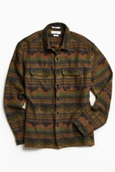 Urban Outfitters Uo Blanket Pattern Jacquard Flannel Button Down Shirt Green