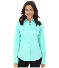 Cinch Cotton Plain Weave Fit Turquoise Women's Long Sleeve Button Up Blue
