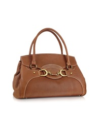 Buti Biscuit Italian Leather Satchel Flap Handbag Brown