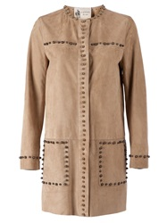 Lanvin Studded Leather Jacket Nude And Neutrals