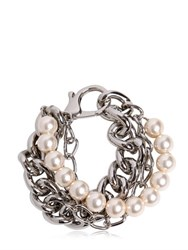 Moschino Chain And Imitation Pearls Bracelet