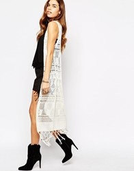 Glamorous Crochet Sleeveless Cardigan With Tassel Hem White