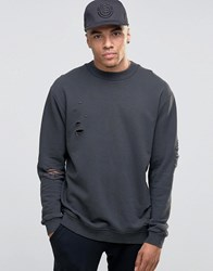 Jack And Jones Crew Neck Sweat With Drop Shoulder Distressed Detail Asphalt Grey