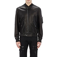 Ralph Lauren Purple Label Men's Perforated Leather Bomber Jacket Black