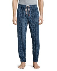 Penguin Cable Print Fleece Pajama Pants Navy Cable